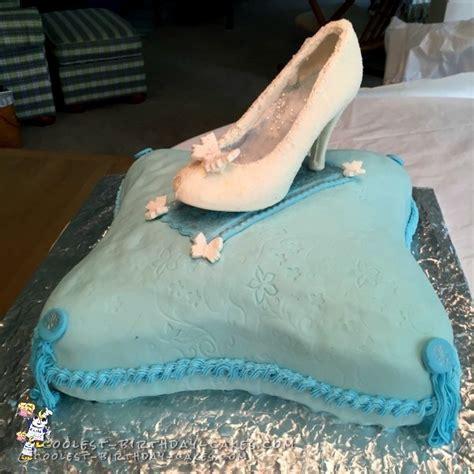 glass slipper cake glass slipper on a pillow cake