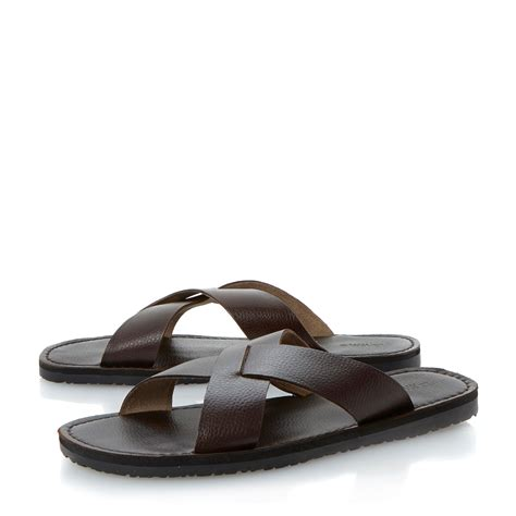 Topshops Bronze Leather Asymmetric Summer Sandal by Dune Indian Summer Leather Crossover Sandals In Brown For