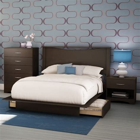 queen platform bedroom set south shore back bay dark chocolate queen wood storage