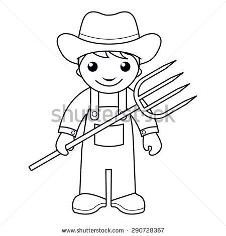coloring book review pitchfork farmer stock images royalty free images vectors