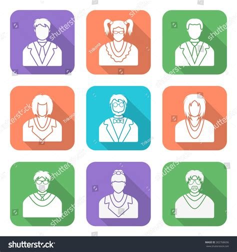 flat white color white color flat style various people stock illustration