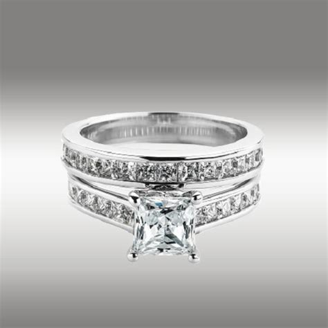 3 72ct princess cut engagement ring matching wedding