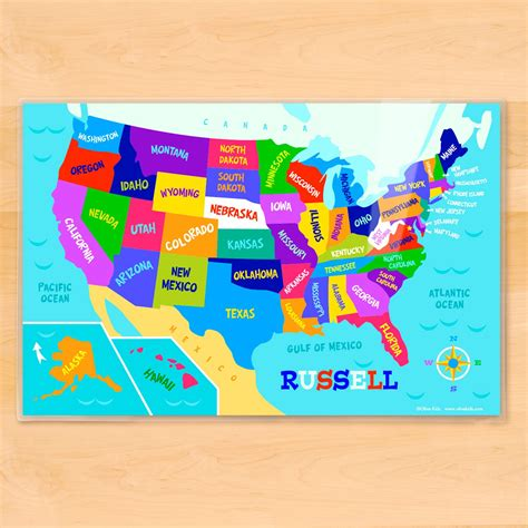 kid map of usa usa map personalized placemat appeel