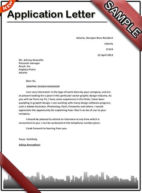 Writing A Application Letter how to write an application letter sle