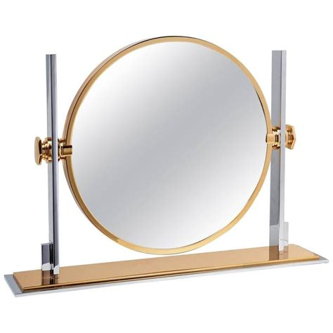karl springer chrome and brass vanity mirror for sale at