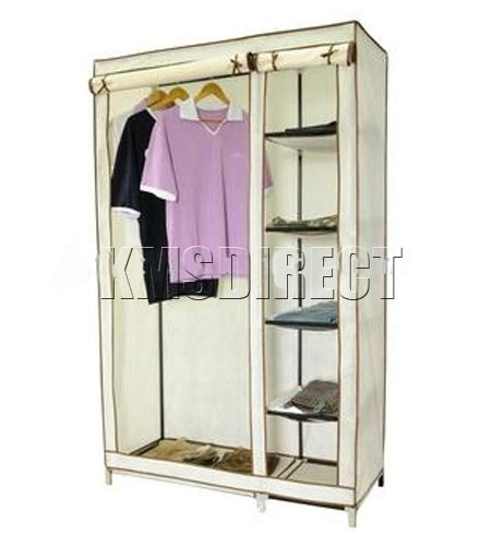 Canvas Wardrobe Canvas Wardrobe Clothes Rail Storage New Beige Ebay