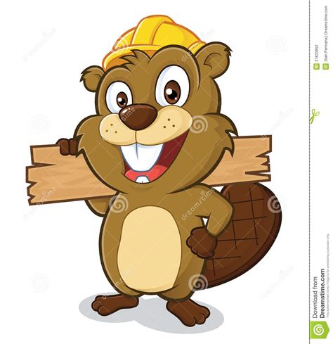 Clipart Vector Of The Carpenter Cartoon Illustration Of beaver wearing a hard hat and holding a plank of w stock