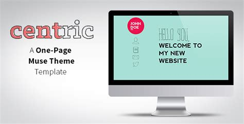 Muse Themes Facebook Preview | centric one page muse theme by tornadador themeforest