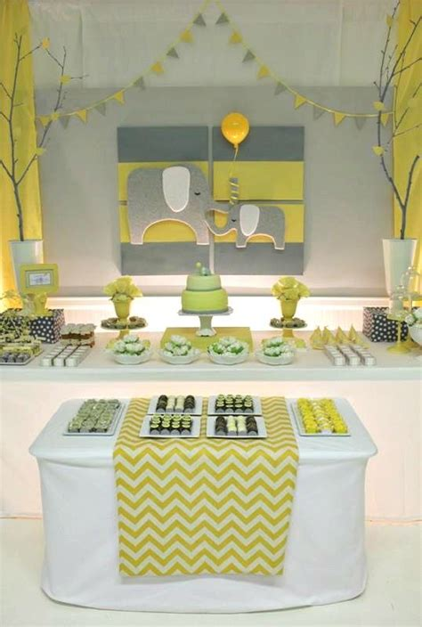 Yellow Themed Baby Shower by Yellow Gray Chevron Baby Shower Ideas Elephant Theme