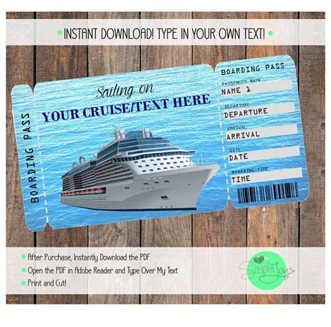 Printable Cruise Tickets   printable cruise vacation surprise ticket boarding pass