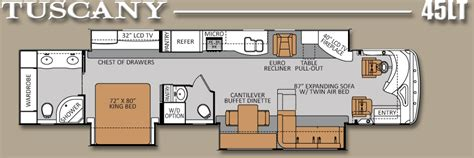 class a floor plans luxury rv floor plans tuscany 45lt 45 450hp tag axle