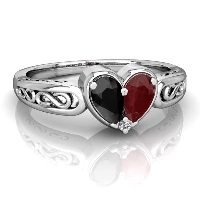 black onyx  ruby filligree heart ring  wonru