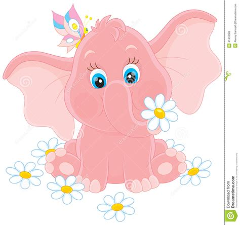 small tiny little elephant with flowers stock vector image 41453089