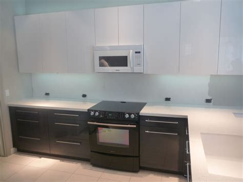 Backsplash With White Kitchen Cabinets by Hand Crafted Contemporary Acrylic High Gloss Kitchen By