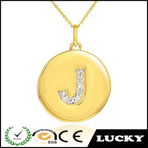Liontin Huruf Oval Gold Plated emas asli berlapis huruf j liontin kalung liontin