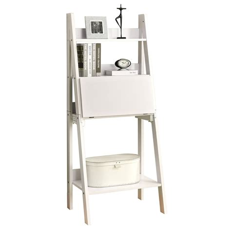white desk with shelves ladder bookshelf and desk furniture kicking ladder shelf