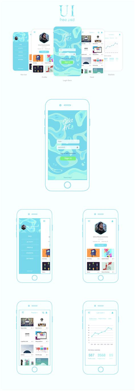 mobile app design templates free app psd