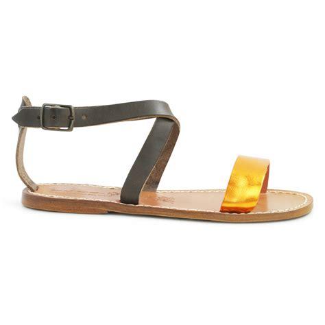 Handmade In Italy - bicolor leather flat sandals handmade in italy gianluca