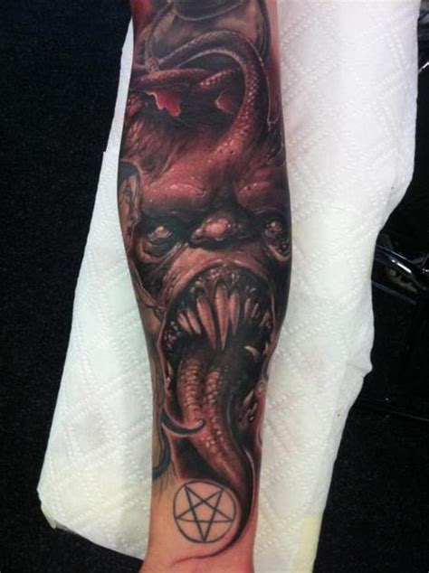 evil half sleeve tattoo designs evil forearm half sleeve by wendtner