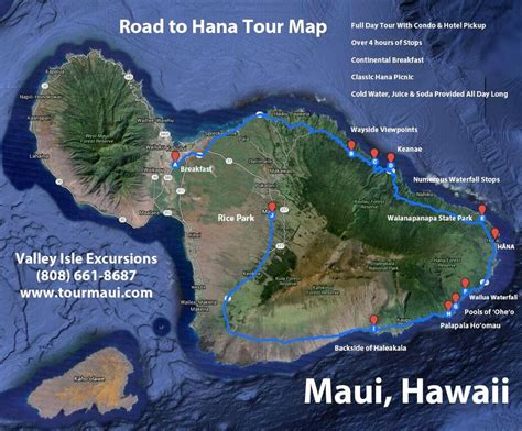 map of with stops road to hana map best hana stops tour map