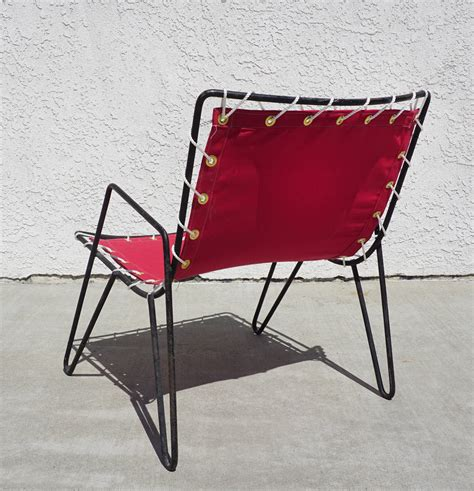 canvas chairs outdoor furniture 1950s iron and canvas outdoor sling chairs at 1stdibs