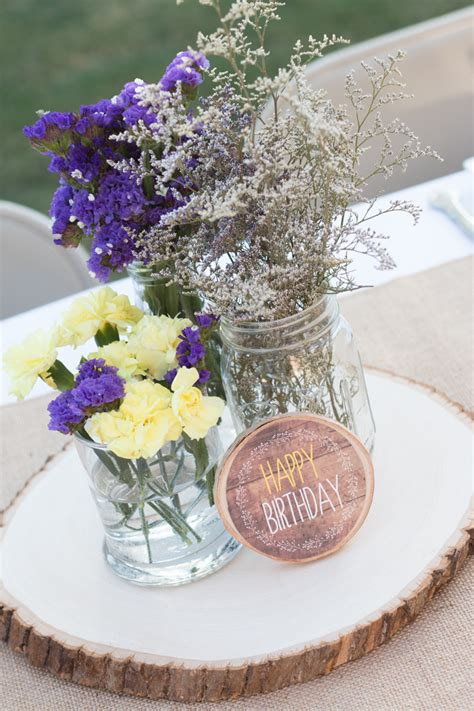 Rustic Lavender And Yellow Tangled 21st Birthday 21st Birthday Centerpiece Ideas