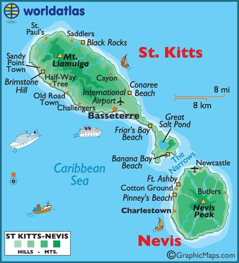 st kitts and nevis map st kitts and nevis large color map