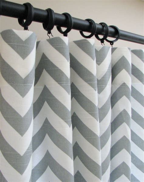 Grey Chevron Curtains Items Similar To Pair Of Decorative Designer Custom Curtains Drapes 50 X 84 Ash Gray And White