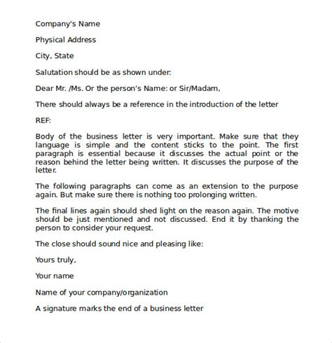 business letter templates free proper business letter format 8 free documents