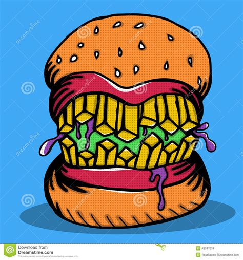 Crazy Burger Monster Doodle Stock Vector   Image: 42047034