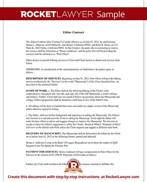 Editor Contract Freelance Editor Agreement With Sle Editing Contract Template