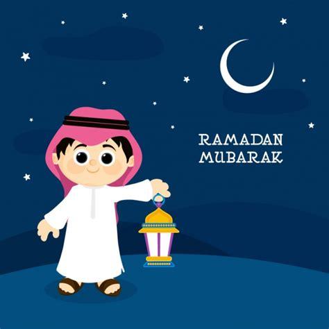 cartoon ramadan wallpaper ramadan mubarak background with boy holding a lantern