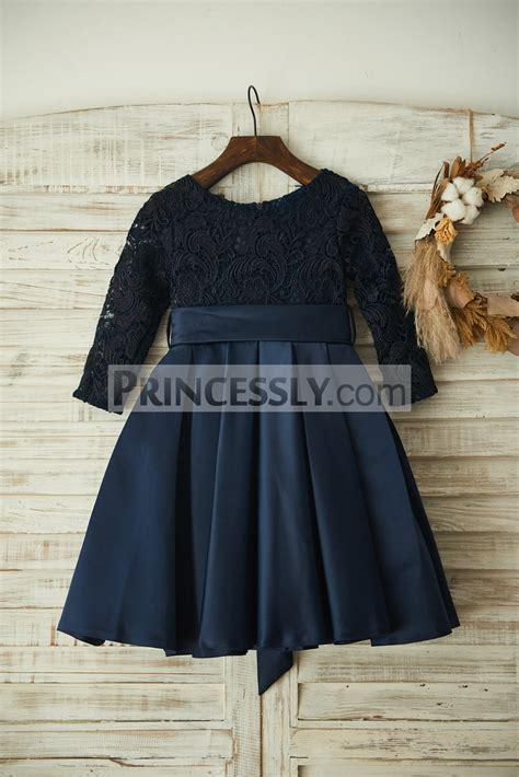 Dress Navy Flower With Belt navy blue lace sleeves satin wedding flower dress with belt avivaly