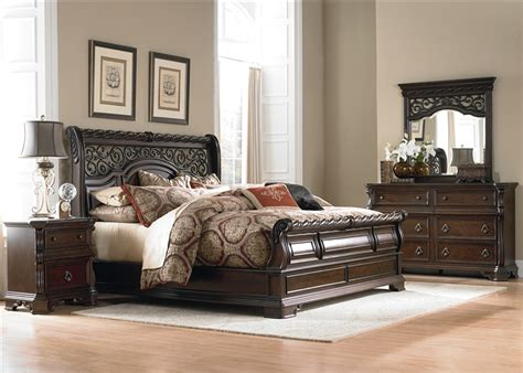 Lacks Furniture King Siza Bedroom Sets Wood by Arbor Place Sleigh Bed 6 Bedroom Set In Brownstone