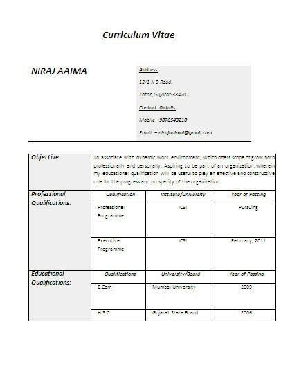 resume format for freshers degree students b degree fresher or experienced with icsi certificate resume jobnotification in