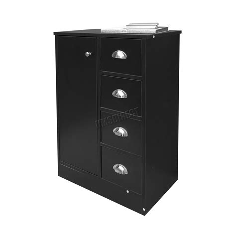 black bathroom storage cabinet foxhunter 4 drawer 2 shelves bathroom storage cupboard cabinet unit bs03 black ebay