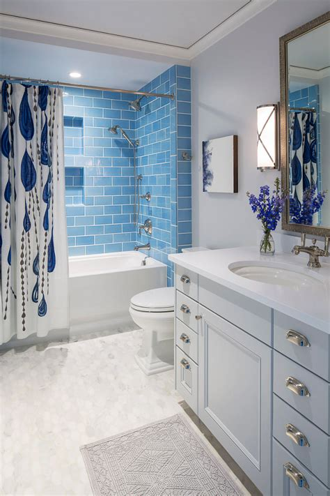 blue subway tile bathroom traditional coastal home with classic white kitchen home