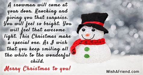 snowman     christmas message  kids