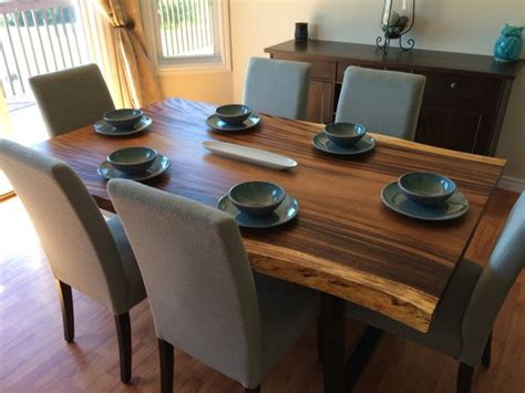 edge dark acacia wood dining table woodify canada