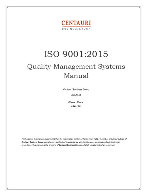 What Information Must Be Contained In An Authorized Search Warrant Iso 9001 2015 Quality Manual Preview
