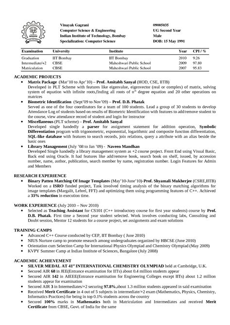 Resume Format For Computer Science Lecturer Resume Format For Assistant Professor In Cse It Resume Cover Letter Sle