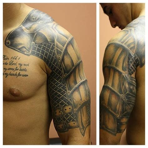 classic black and grey armor tattoo on man left half sleeve