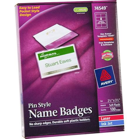name tag template avery avery 74549 pin style name badges