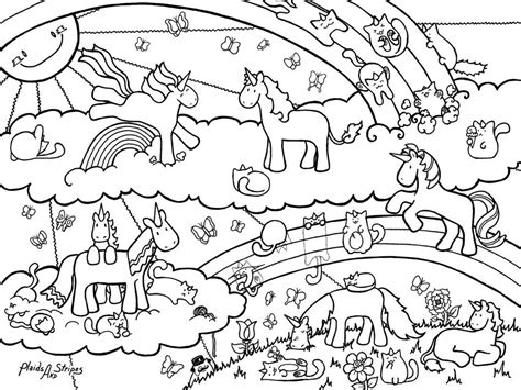 detailed unicorn coloring page unicorn and caticorn coloring page by plaidsandstripes