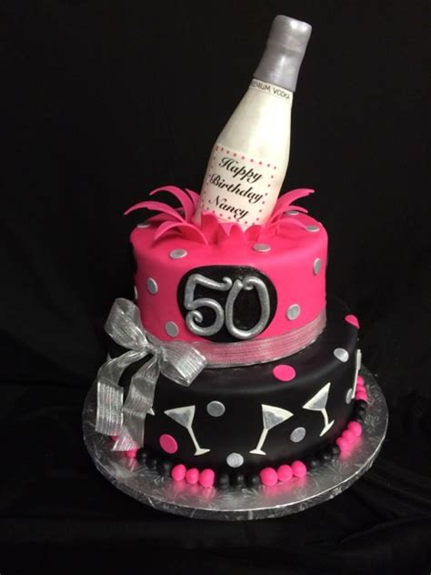50th birthday cake ideas for women martini 50th birthday cake silver hot pink and black