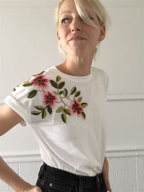 Floral Embroidered Shirts White floral embroidered white white tees floral and aw17