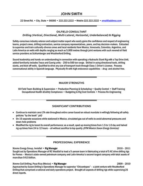 top oil gas resume templates sles