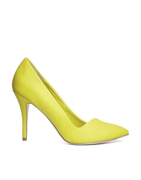 yellow high heels sandals aldo yellow high heeled pointed court shoes in yellow lyst
