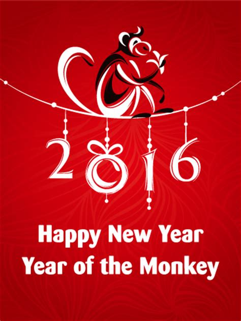 new year year of the monkey monkey year new year card birthday greeting