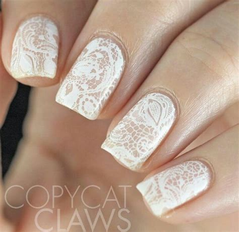 Simple Lace Wedding Nails awesome lace wedding manicure ideas